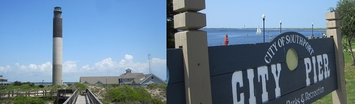 Oak Island Lighthouse at Caswell Beach and City Pier at Southport NC