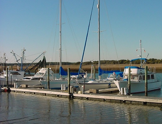 boats and a marina at Oak Island NC