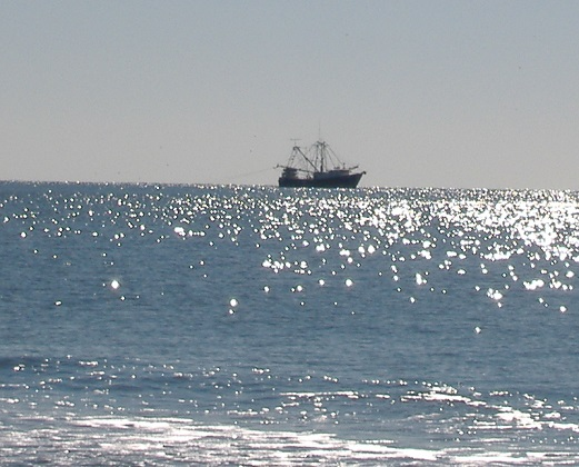 Oak Island NC Ocean Fishing Boats