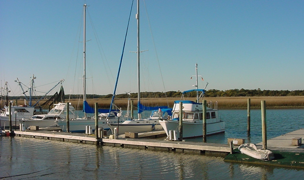 boats and marina at Oak Island NC