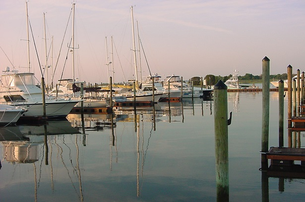 sailboats in a marina at Southport NC