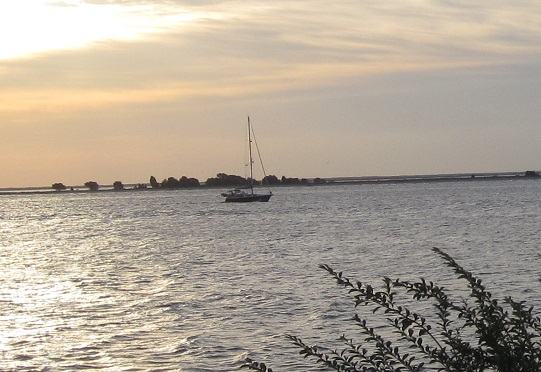 sailboat on the river at Southport NC